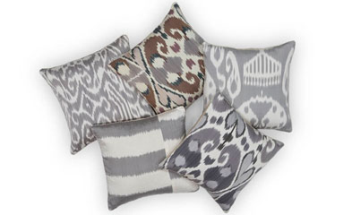 Madeleine Weinrib's ikat fabric pillows