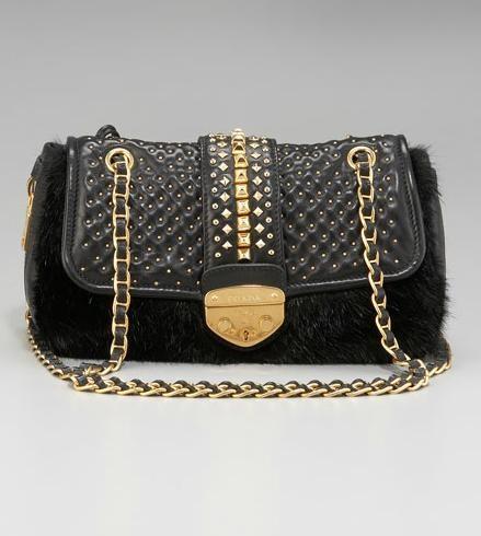 0f164d5f1d Prada Fur Open-Top Tote  2895 Prada Napa Borchie Studded Lambskin Chain Bag  ...