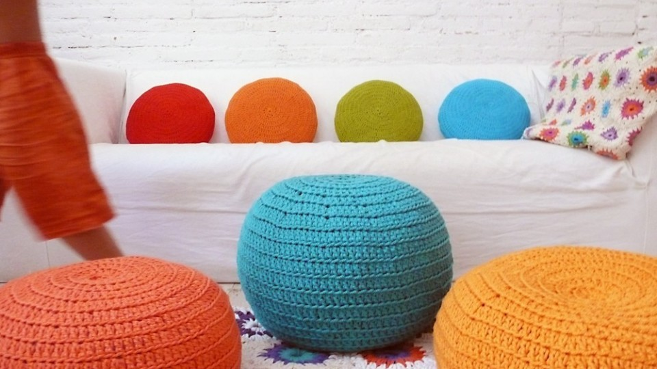 Small crochet pouf by lacasadecoto, available on Etsy.com; approx 53