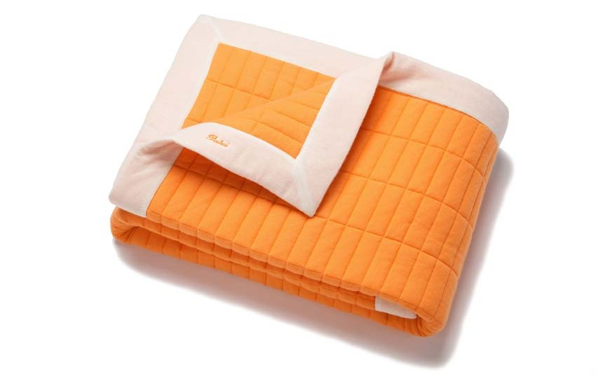 "Batiste of Cashmere (with a touch of silk) light quilt bar battern. ""Lunar Orange with Offwhite"" Border"