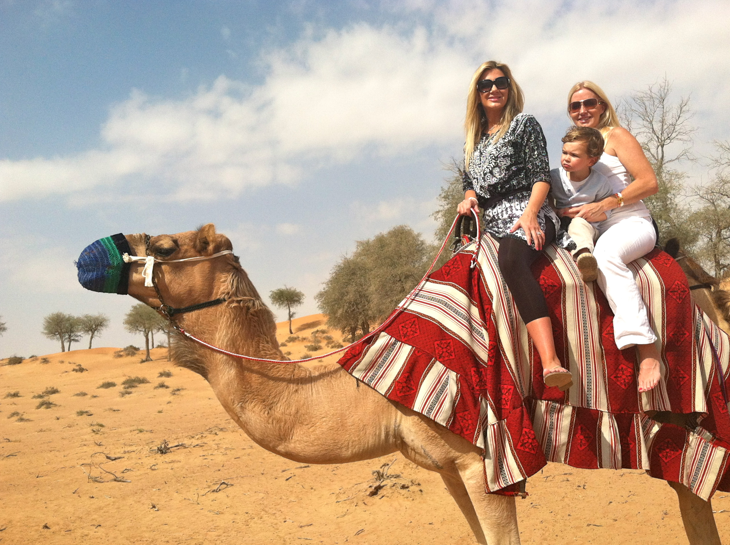 Morning camel ride with my sister Kim and my godson!