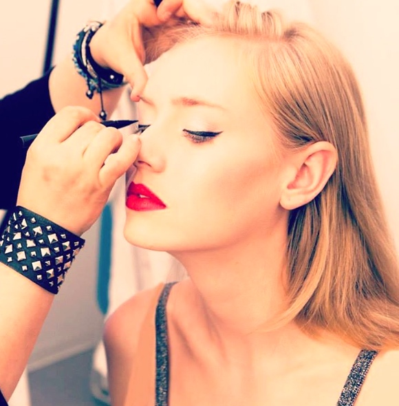 Nicole Bryl lending her skills to a GLAM4GOOD event for Seventeen Magazine.