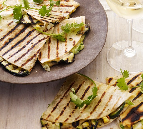 Grilled Corn & Zucchini Quesadillas with Scallions, Cilantro ...