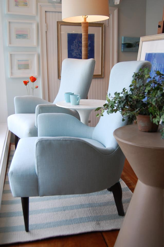 Ice blue armchairs