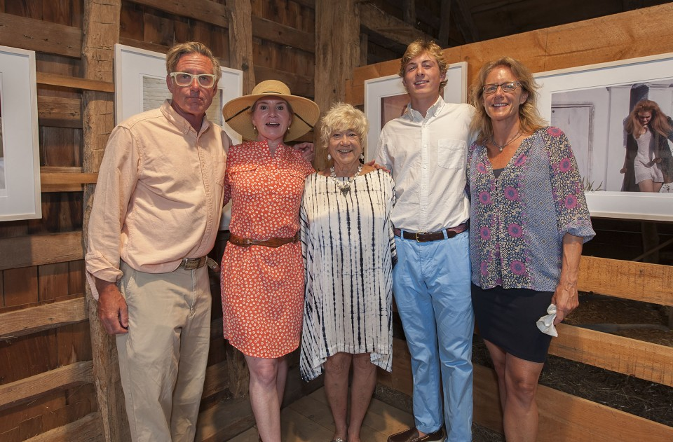 """The opening reception of """"Right On! - The Lennon Years,"""" an exhibition of photography by Susan Wood at the East Hampton Historical Society's Mulford Barn on Saturday, August 8th, 2015. Chip Haggerty, Leah Haggerty, Susan Wood, Chad Haggerty, Amy Weller"""
