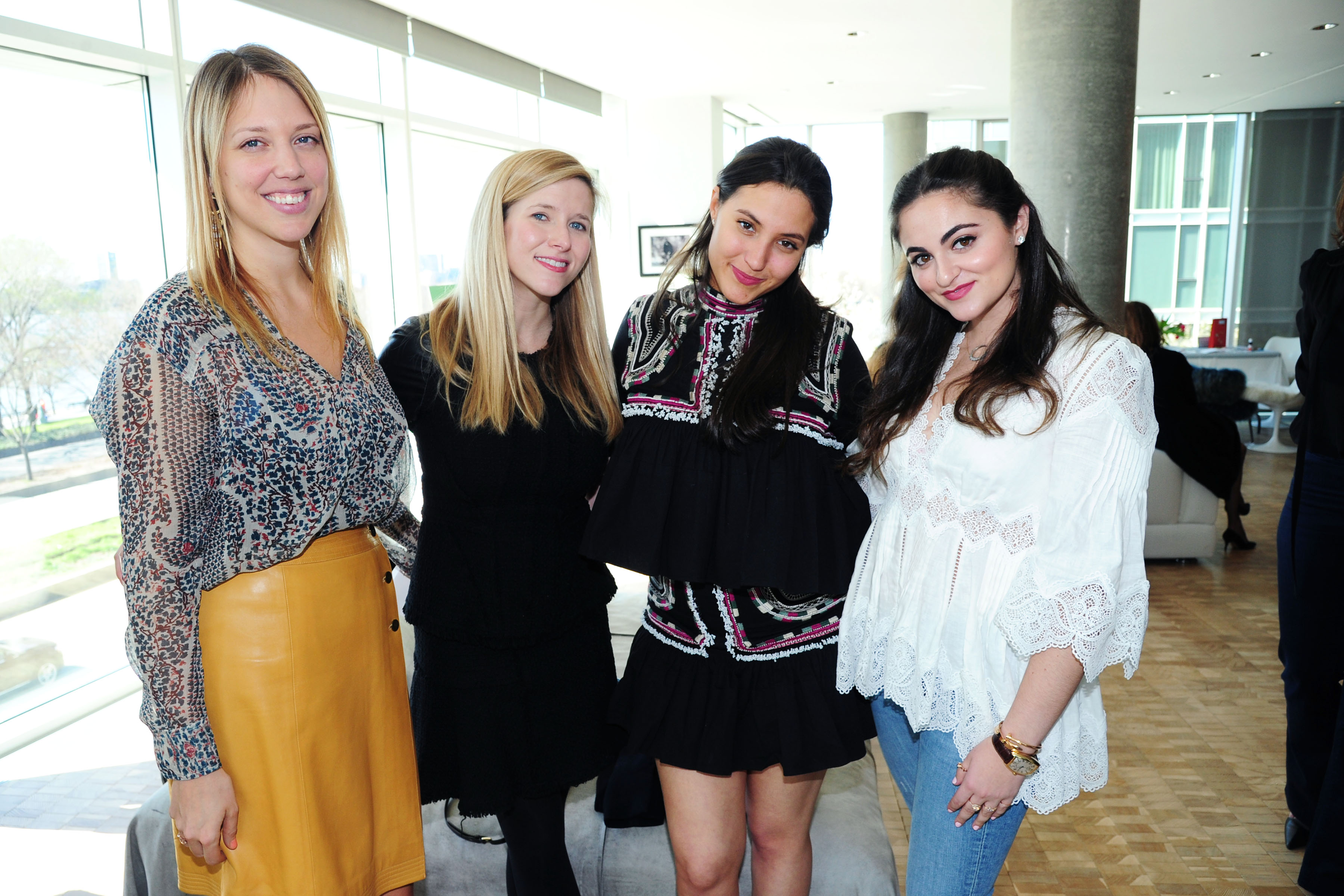 Karoline Katus, Paige Reddinger, Sophia Schrager, Emma Lasry== Joyful Heart Foundation x Me&Ro hosted by GenerationJOY== Private Residence, NYC== April 10, 2016== ©Patrick McMullan== Photo Ð Liam McMullan/PMC==