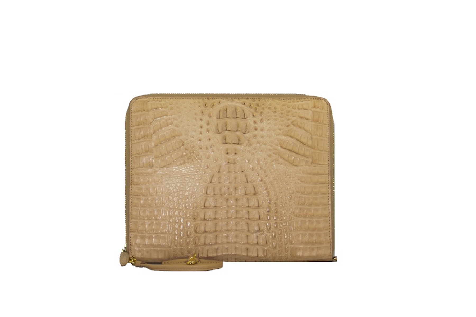 W.H. Petronela crocodile zip-around tablet case