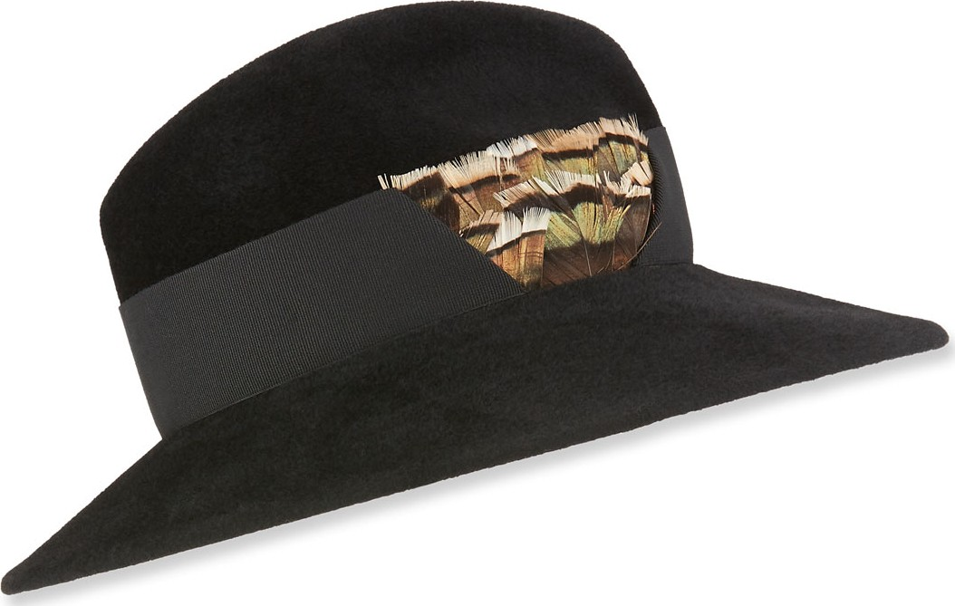 0f05f07c75437 Marzi Rabbit Felt Structured Hat w  Feather Detail.  555   bergdorfgoodman.com